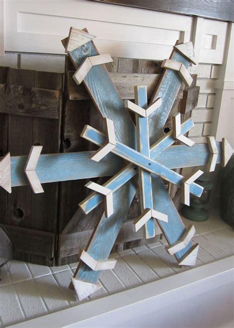 reclaimed scrapfencepallet wood snowflake  winter blue