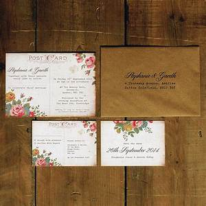 floral illustration postcard invitation by feel good With vintage stamps for wedding invitations uk