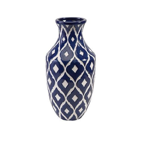 89694 Maine Tall Blue and White Vase IMAX