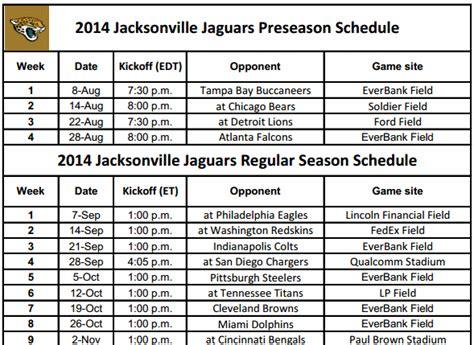 Printable 2014 Jacksonville Jaguars Schedule