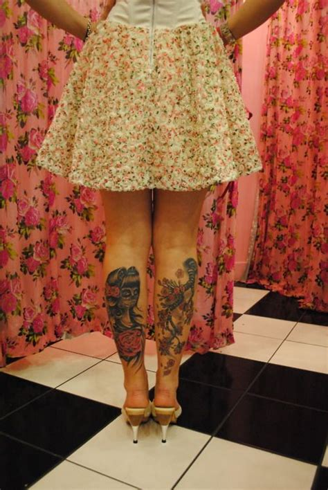 rockabilly tattoos    leg rockabilly