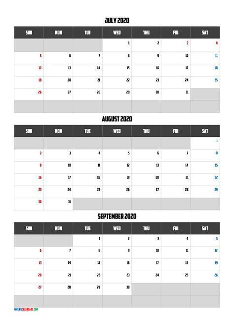 july august september  calendar   template