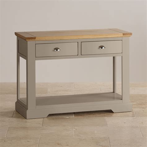 grey console table oak and light grey painted console table 1485