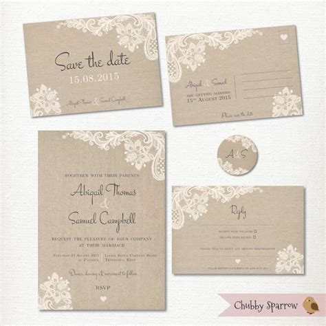 Wedding Invitation Save The Date Postcard Lace And Linen
