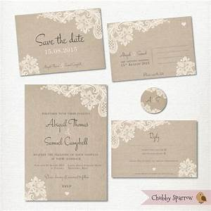 wedding invitation save the date postcard lace and linen With wedding invitations print at home kits