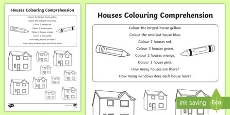 * New * Houses Colouring Comprehension Activity Sheet