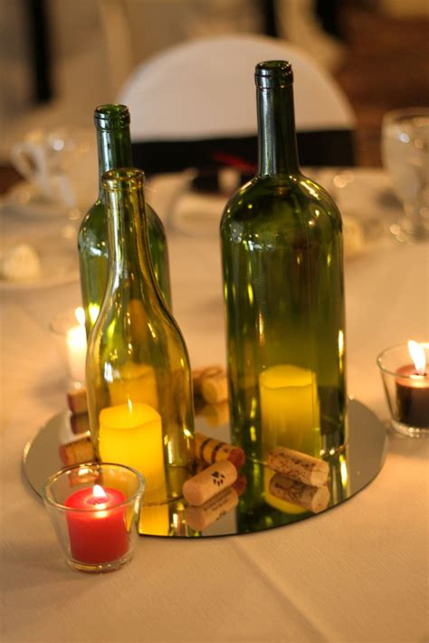 DIY wine bottle centerpiece Wine bottle centerpieces