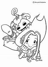 Digimon Coloring Mimi Hellokids Yokomon Sheets sketch template