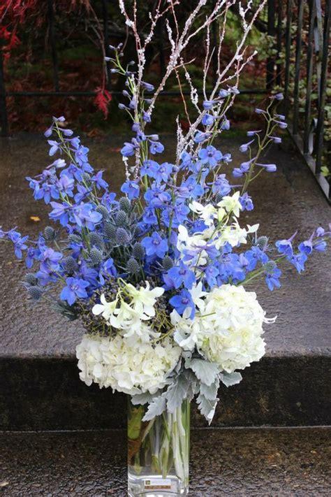 blue and silver flower arrangements blue white silver winter bouquet arrangement with winter
