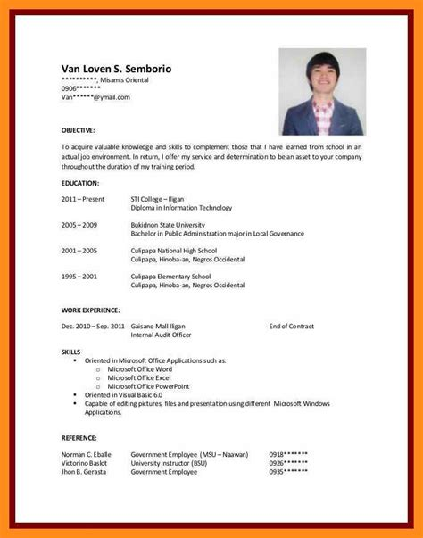 Sle Resume Without Work Experience by 12 13 Cv Sles For Students With No Experience