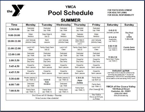 Schedules  The Ymca Of Coosa Valley
