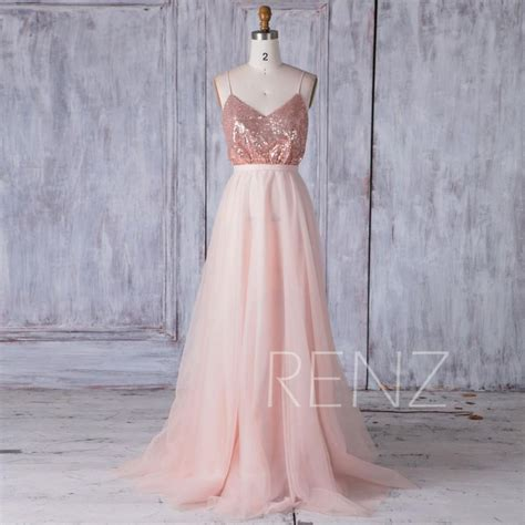 rose gold sequin bridesmaid dress   mesh