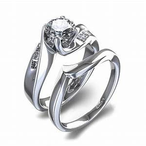 3 4 ctw curved women39s diamond wedding set in 14k white gold With women wedding ring set