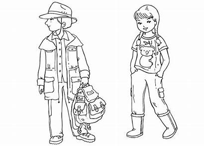 Coloring Children Australian Pages Clothing Traditional Around