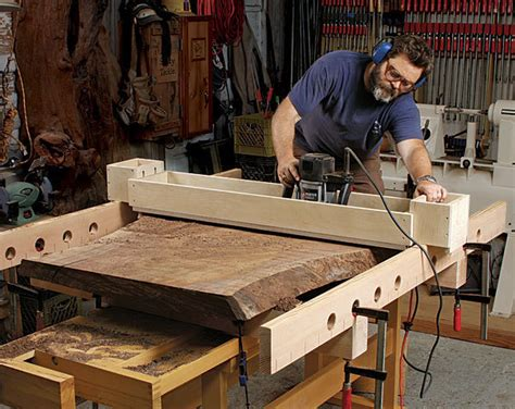 flattening wood slabs   router jig