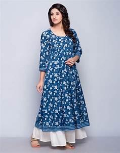 Buy Fabindia Indigo Cotton Cambric Dabu Printed Anarkali