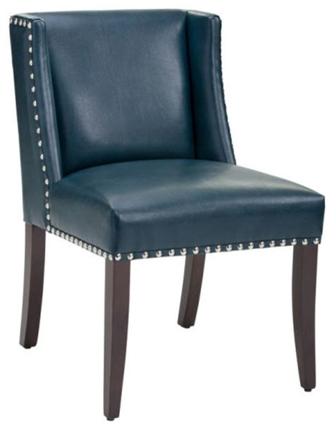 low back wing dining chair in bonded leather blue leather