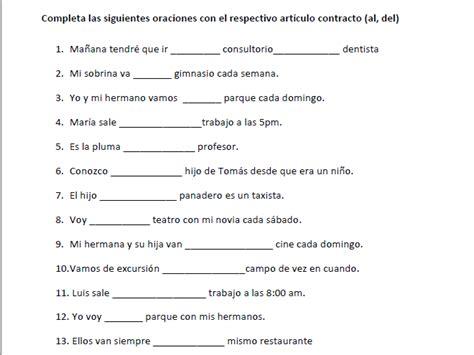 spanish articles contractions aldel worksheet