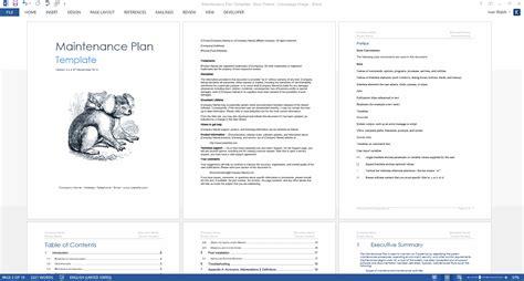 maintenance plan template checklist log ms wordexcel