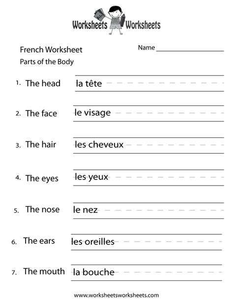 french body parts worksheet  printable educational