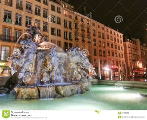 the fountain of bartodi in the lyon old town vieux lyon