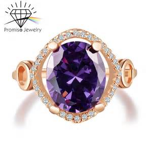 gold plated purple gem cz diamond rings for women