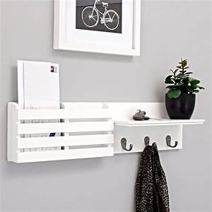 nexxt sydney wall shelf and mail holder with 3 hooks 24 With white wall letter holder