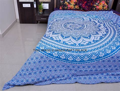 Blanket Cover ombre mandala indian duvet covers throw cotton quilt