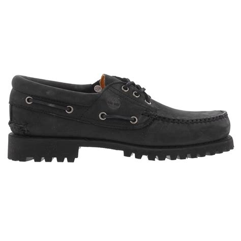 Timberland 3 Eye Boat Shoes Black by Timberland Authentic 3 Eye Mens Black Nubuck Leather Deck