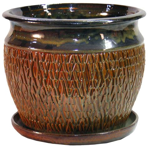 ceramic planters home depot david pottery 16 in textured studio shaped ceramic