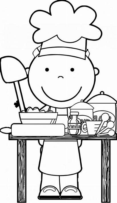 Chef Clipart Coloring Cooking Clip Dinner Pages