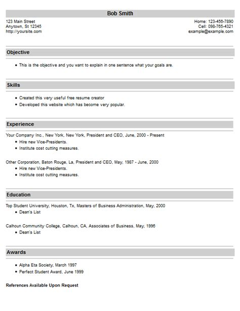 Resume Creator Website by Free Resume Creator Out Of Darkness