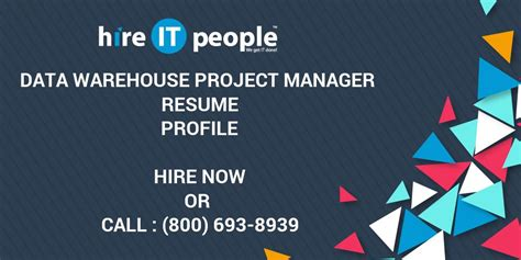 Dw Bi Project Manager Resume by Data Warehouse Project Manager Resume Profile Hire It