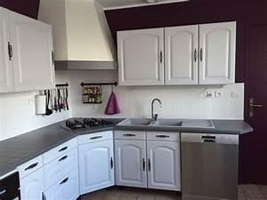 davausnet cuisine chene repeinte blanc avec des idees With quel mur peindre en fonce 16 quelle couleur mettre avec une cuisine grise