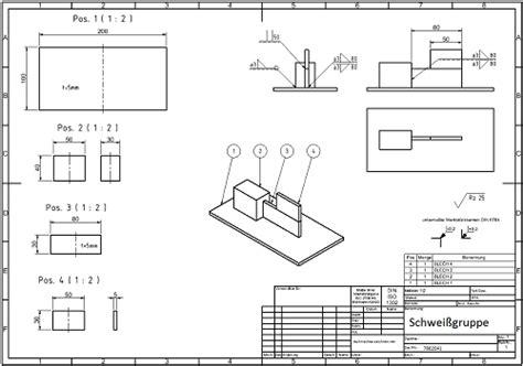 die stueckliste  der technischen zeichnung