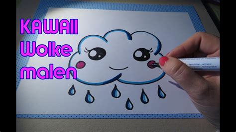 kawaii wolke regenwolke malen drawing cloud youtube