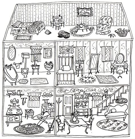 dollhouse coloring page paper cut figures pinterest coloring pictures   inspiration