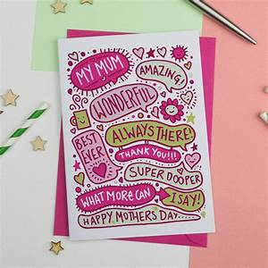 happy mothers day fun illustrated card by a is for ...