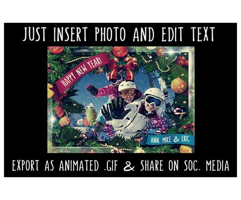 All youtube cards music artists: Animated Christmas Card Template GIF - editable Greeting eCard with falling snow. Merry ...