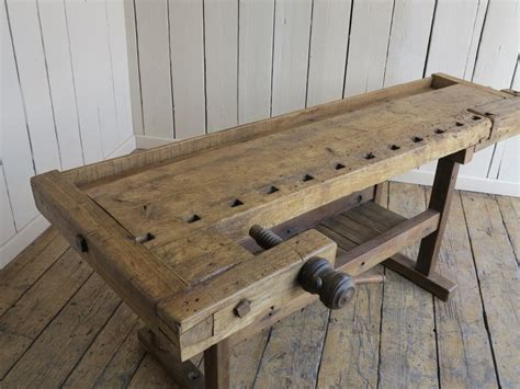 antique woodworking wooden vintage bench  vices