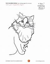 Cat Sitting Down Coloring sketch template