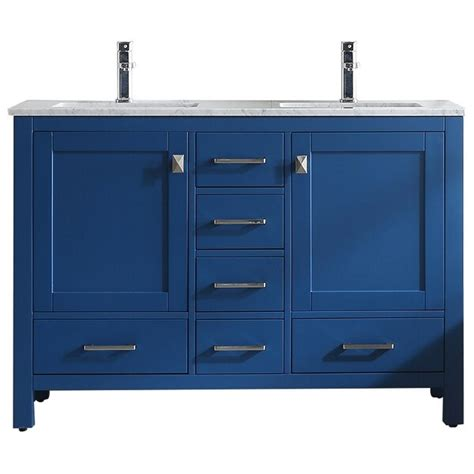 "18 bathroom vanity cabinet with undermount resin vessel sink&faucet combo set 814644028920. Shop Eviva London 48"" x 18"" Blue Transitional Double Sink ..."