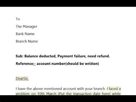 sample letter  refund money