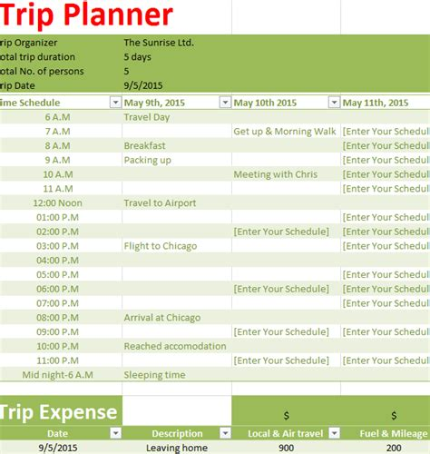 holiday trip planner  excel templates