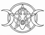 Pentacle Goddess Template Coloring Pentagram Pages Wiccan Moon Tattoo Ancasta Deviantart sketch template