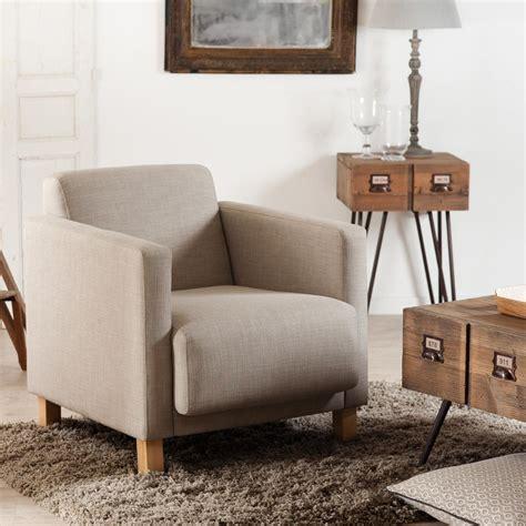 fauteuil de salon en tissu couleur lin 67x75xh72 cm katie