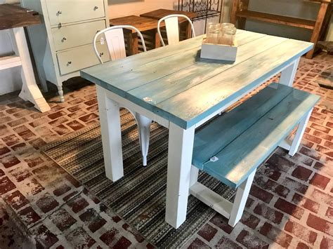 vintage aqua small farmhouse table set  bench
