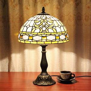 12, Inch, Palace, Pattern, Vintage, Pastoral, Stained, Glass, Tiffany, Table, Lamp, Bedroom, Lamp, Bedside