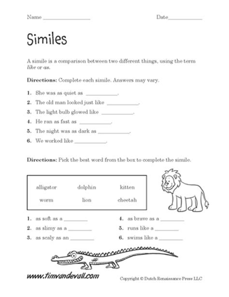 simile worksheets with answers printable simile worksheets language arts pdfs