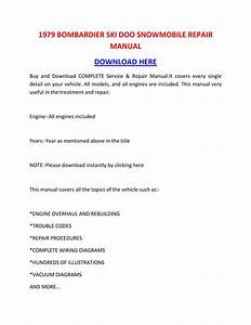 1979 Bombardier Ski Doo Snowmobile Repair Manual By
